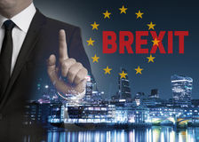 Brexit on United Kingdom membership of the European Union London. Skyline concept with businessman Royalty Free Stock Photo