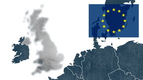 Brexit, United Kingdom removed from Europe Map stock video footage