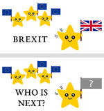 Brexit vector illustration. Text: Brexit and Who is Next? Stock Photo