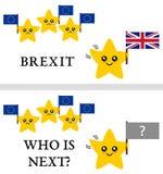 Brexit vectorillustratie Tekst: Brexit en Who zijn Volgende? Stock Foto