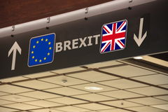 Brexit-Vorzeichenkennzeichnung EU Großbritannien Stockfotos