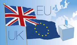 Brexit vote, uk and european flags Stock Photo