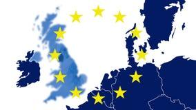 Brexit - West-blaue Karte EU mit den 12 symbolischen Sternen - Großbritannien verschwindet in einem blauen rauchigen Effekt stock abbildung
