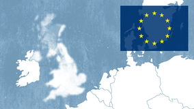 Brexit - West EU map with the European flag in a corner and showing the United Kingdom being removed - evaporation effect stock footage