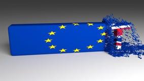 BREXIT-woord uit een Europese vlag wordt afgebroken die stock video