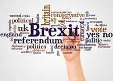 Brexit word cloud and hand with marker concept. On white background stock photos