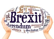 Brexit word cloud hand sphere concept. On white background stock image