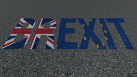 Brexit word Great Britain EU flags on the road royalty free stock photography