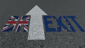 Brexit word Great Britain EU flags on the road stock photos