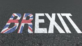 Brexit word and Great Britain flag on the road royalty free stock images