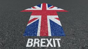 Brexit word and Great Britain flag on the road royalty free stock photography
