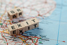 Brexit. The word brexit written in cubes and part of Great Britain map Stock Image
