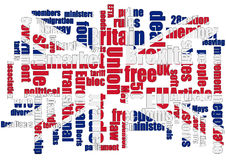 Brexit Wordcloud with Union Jack. In the words royalty free illustration