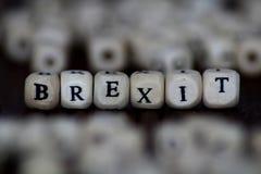 Brexit-Wort geschrieben in hölzernen Würfel stockfoto