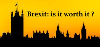 Brexit, is it worth it with Houses of Parliament, London background stock images