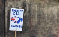 Brexitprotest - de Beste overeenkomst is met de de EU-Banner in Londen Westminster Juli 2019 stock afbeeldingen
