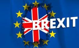 Brexitreferendum het UK het Verenigd Koninkrijk of de terugtrekking van Groot-Brittannië van E. - Europese Unie De vlag van Brits royalty-vrije illustratie