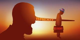 Brexitsymbool met een Britse burger die schieten in de voet stock illustratie