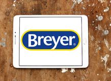 Breyer manufacturer logo. Logo of Breyer manufacturer on samsung tablet. Breyer  is a manufacturer of model animals. The company specializes in model horses made Stock Photo