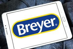 Breyer manufacturer logo. Logo of Breyer manufacturer on samsung tablet. Breyer  is a manufacturer of model animals. The company specializes in model horses made Stock Photos