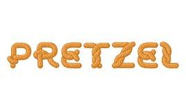 Brezelbeschriftung Backen Sie Snackguß Traditionelles deutsches Mahlzeit alph Stockbild
