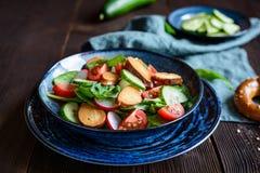Brezensalat - традиционный немецкий салат кренделя с шпинатом, томатами, редиской и огурцом Стоковая Фотография RF