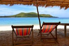 Brezentowy krzesło na plaży w Thailand Zdjęcie Stock