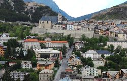 Historical city of Briancon, France stock images
