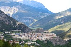 Historical city of Briancon in Hautes Alpes Valley, France stock photo