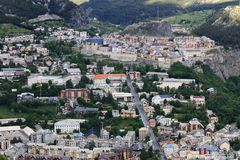 View upon walled city of Briancon in Hautes Alpes Valley, France stock images