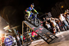 Brian Capper. Trial bike rider Brian Capper at his solo show as a part of Red Bull Sea To Sky Hard Enduro Event. Show took place in Terracity Mall in Antalya Royalty Free Stock Photos
