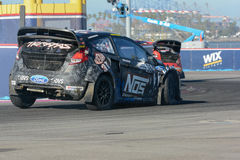 Brian Deegan 38, drives a Ford Fista ST, during the Red Bull Glo Stock Image