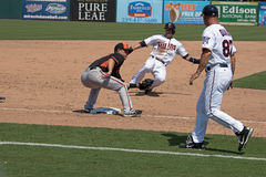 Brian Dozier of the Minnesota Twins Slides into Third Base Stock Images