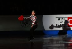 Brian Joubert with lovely heart (France). ISU European Figure Skating Championship 2009 in Helsinki, Finland. Brian Joubert from France in Exhibition Gala Stock Photo