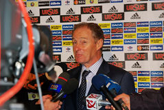 Brian Kerr. Football manager for Faroe Islands team at press conference, 14.10.2009, Match between Romania - Faroe Islands 3-1 Royalty Free Stock Photo