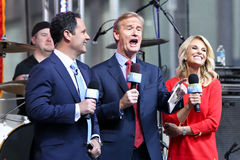 Brian Kilmeade, Steve Doocy, Elisabeth Hasselbeck. NEW YORK - MAY 22: (L-R) Broadcasters Brian Kilmeade, Steve Doocy and Elisabeth Hasselbeck onstage at Fox and Stock Photo