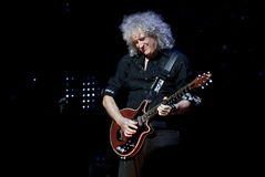 Brian May from Queen performs with Kerry Elils during Acoustic by Candlelight Tour at the Republic Palace on March 21, 2014. MINSK, BELARUS - MARCH 21, 2014 Royalty Free Stock Photography