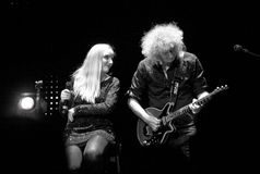 Brian May from Queen performs with Kerry Elils during Acoustic by Candlelight Tour at the Republic Palace on March 21, 2014 Royalty Free Stock Photos