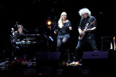 Brian May from Queen performs with Kerry Elils during Acoustic by Candlelight Tour at the Republic Palace on March 21, 2014 Stock Photos