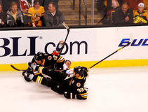 Brian Rolstons and Zdeno Chara in collision Royalty Free Stock Photo