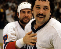 Brian Trottier, New York Islanders. Vintage shot of Brian Trottier after the New York Islanders won the Stanley Cup. (Scanned from slide royalty free stock image