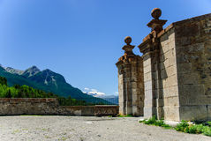 Briancon fortress gate and French Alps, France. Briancon fortress gate and French Alps' picturesque view, France Royalty Free Stock Photos
