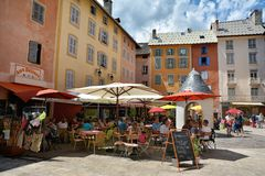 Old Town of Briancon, the highest town in France. BRIANCON, FRANCE - JULY 20, 2017. Old Town of Briancon, the highest town in France Provence , known for Tour de stock photo