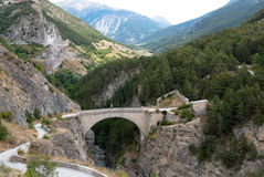 Briancon, France. Pont d'Asfeld. Pont d'Asfeld in Briancon. Hautes-Alpes department in the Provence-Alpes-Côte d'Azur region in southeastern France. Built in royalty free stock photo