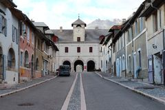 Briancon Gate and Catinat Street in Mont-Dauphin, France royalty free stock photography