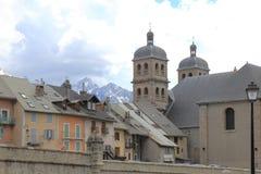 Briancon, iglesia colegial de Notre-Dama-y-St-Nicolás, Francia Imágenes de archivo libres de regalías