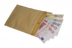 Bribe. Envelope with some banknotes inside. Bribe and corruption concept royalty free stock photo