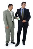 Bribe. Businessman or politician holding his pocket for bribe Stock Image