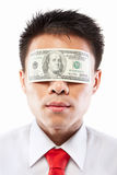 Bribe concept, eyes sealed with dollar bill Royalty Free Stock Photo