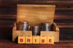 Bribe. Concept shot of bribe with beautiful background stock photo